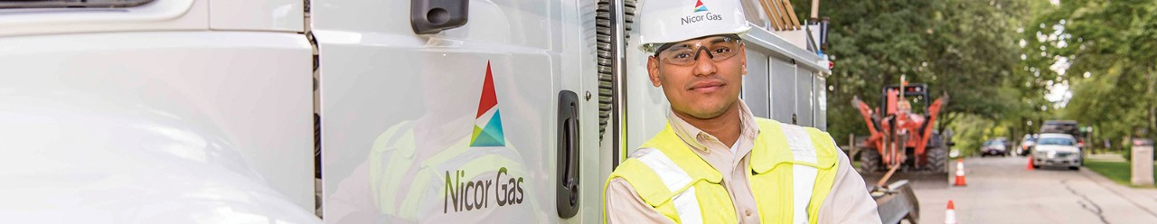 Nicor Gas worker and truck